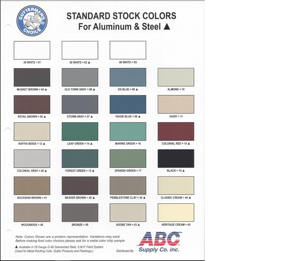 Color chart cliffys continuous gutters color chart nvjuhfo Gallery
